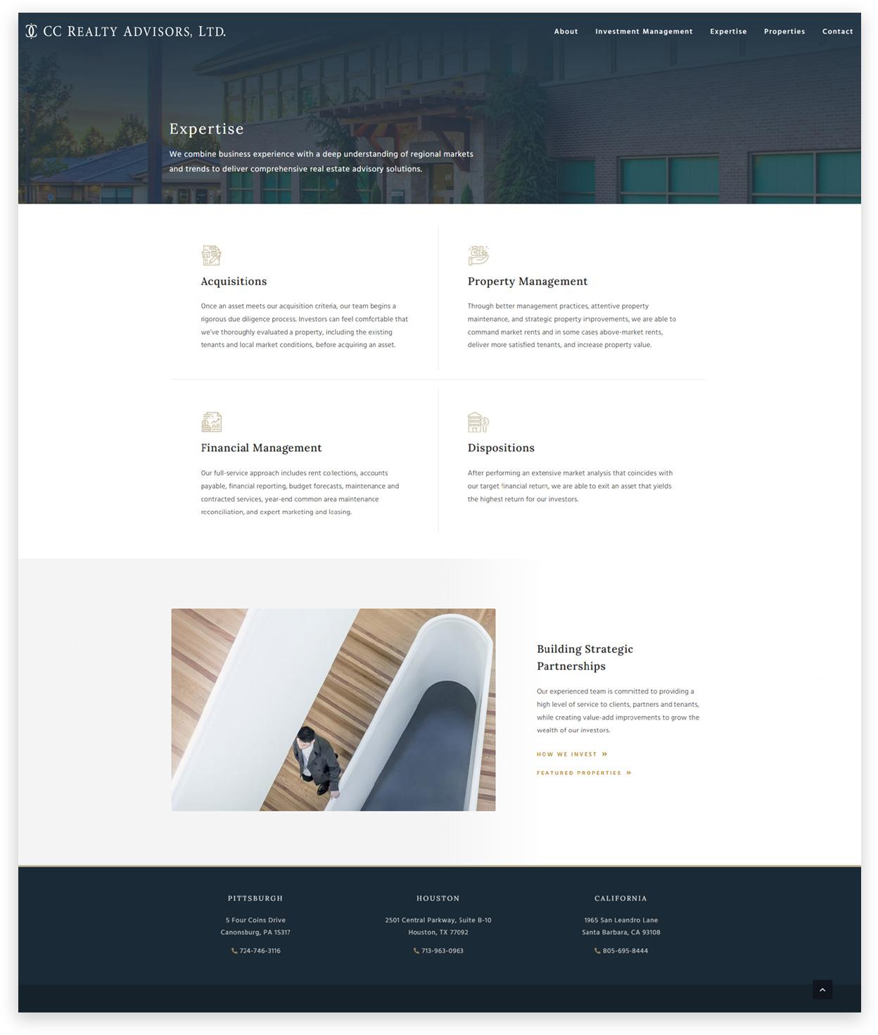 Real Estate Advisory web design